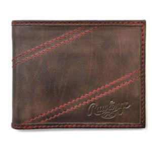 Vintage Rawlings 2 Red Strike Brown Leather Wallet